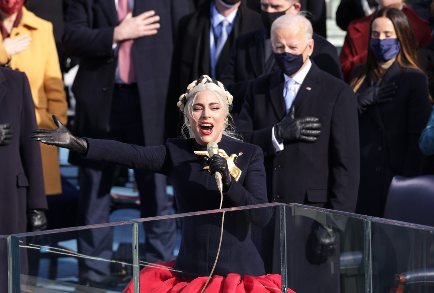 Lady Gaga sings the National Anthem at the inauguration. (Alex Wong/Getty Images)