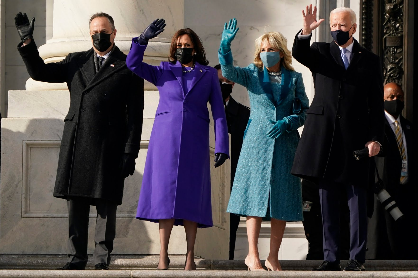 President-elect Joe Biden, his wife Jill Biden and Vice President-elect Kamala Harris and her husband Doug Emhoff arrive at the steps of the U.S. Capitol for the start of the official inauguration ceremonies, in Washington on Wednesday. (J. Scott Applewhite/AP)